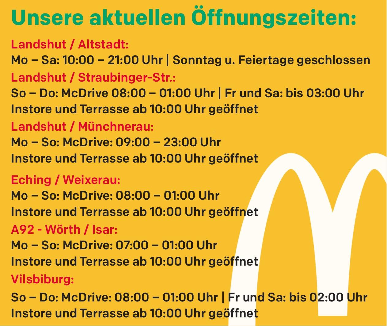 Aktuelle Öffnungszeiten McDonald's Restaurants Landshut